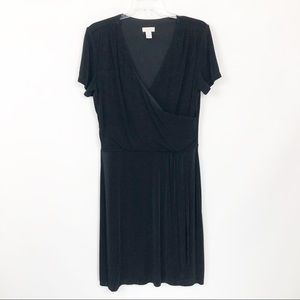 Chicos Faux Wrap Short Sleeve Dress Career